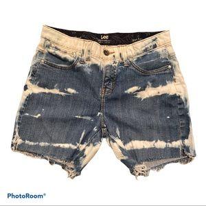 Lee custom bleach dye denim shorts